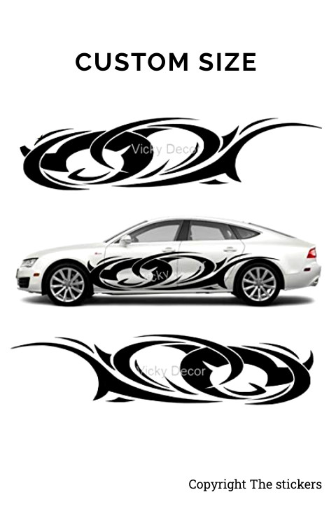 Car door Graphics Matte Black Free Size - The stickers