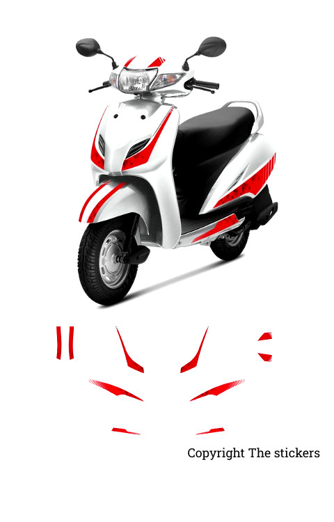 Activa Limited Edition Full Graphics Red Color - The stickers