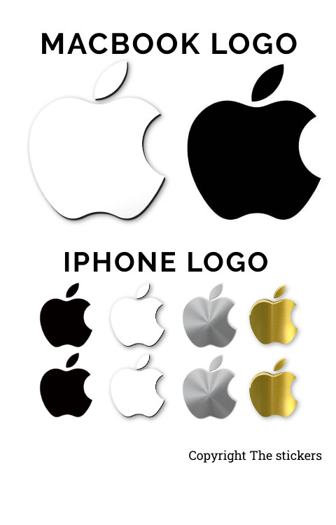 Apple logo Sticker original size for Macbook and Mobile - The stickers
