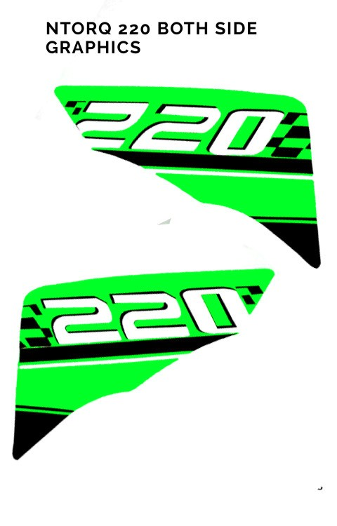 TVS Ntorq 125 Both Side Graphics Stickers Chrome Green - The stickers