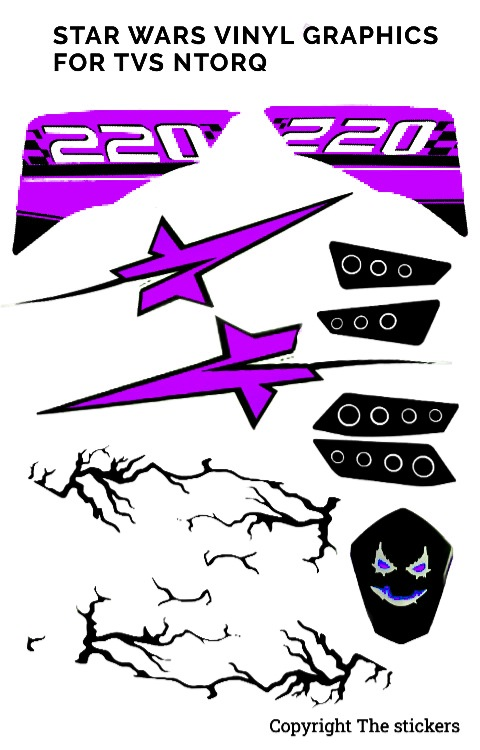 TVS ntorq star wars graphics purple | ntorq graphics | The stickers
