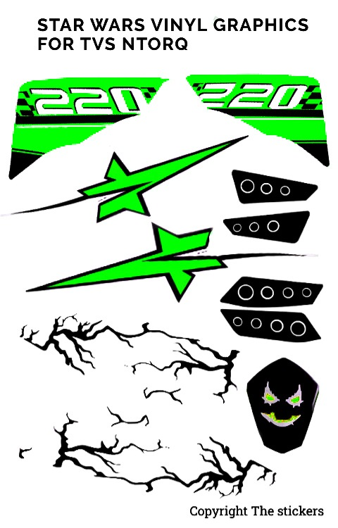 TVS ntorq star wars graphics light green | ntorq graphics | The stickers