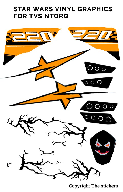 TVS ntorq star wars graphics matte orange | ntorq graphics | The stickers