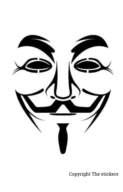 Anonymous Hacker Mask Stickers for Laptop and Mobile - The stickers