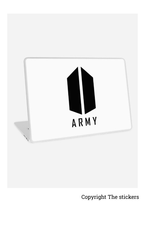 Laptop wrapping paper white with BTS logo for Asus,HP,Dell,Lenovo,Apple - The stickers