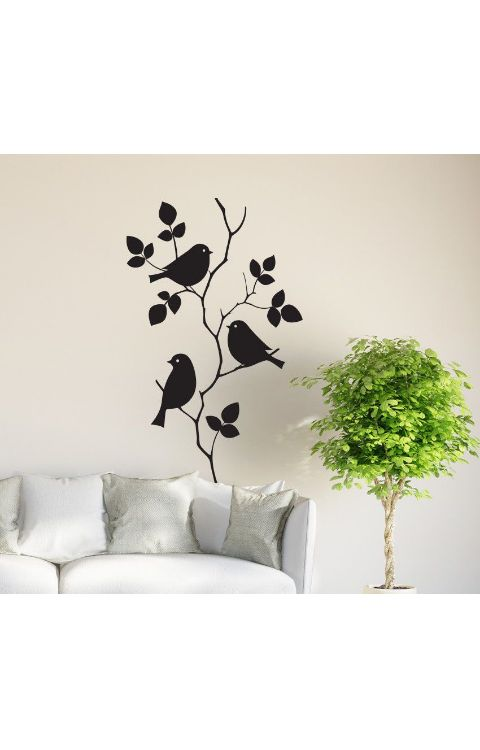 Birds in Tree wall stickers 120cm x 90cm matte black - The stickers