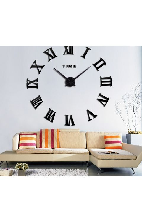 Analog clock wall stickers 60cm x 60cm matte black - The stickers