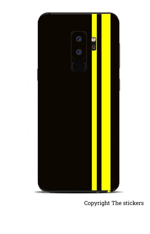 Mobile wrapping Paper Matte Black with Yellow for Redmi, Realme, Oppo, Vivo,Honor - The stickers