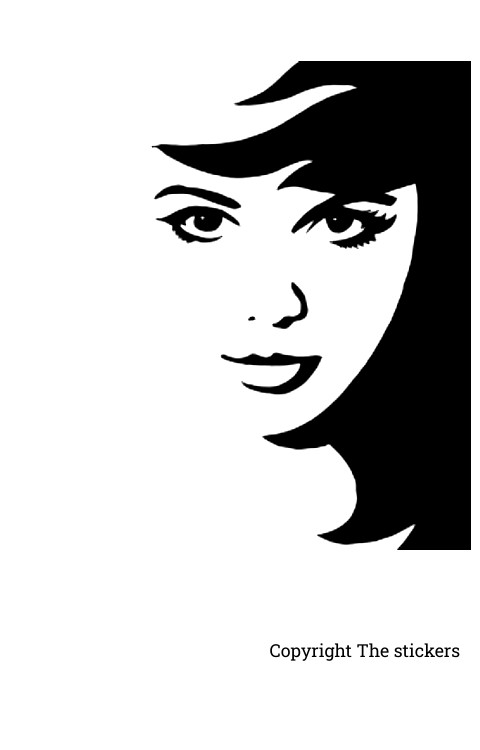 Wall stickers girl face 20 x 12 inch.(lxb) - The stickers