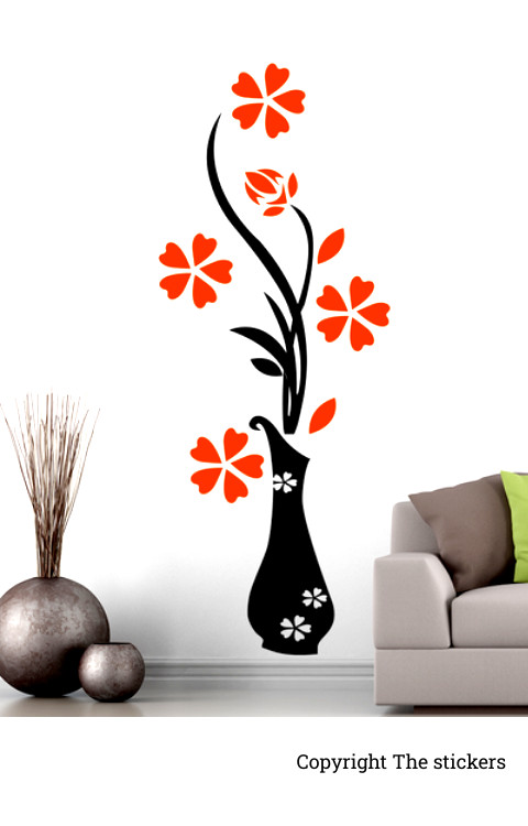 Wall stickers flower design All colors 36x12 inch (lxb) - The stickers
