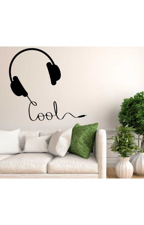 Cool Headphone Wall Stickers 90cm x 90cm - The stickers