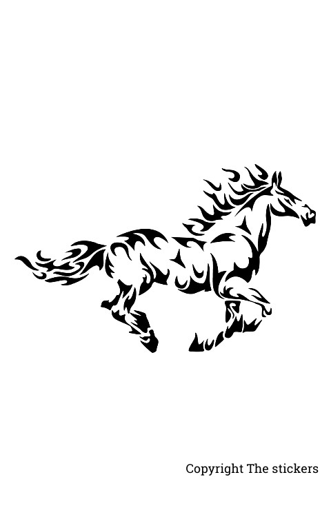 Horse stickers white with Black for mobile, laptop and bike - The Stickers