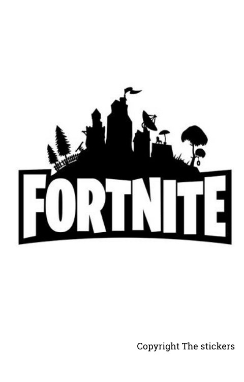 Fortnite Logo stickers white with Black for mobile, laptop and bike - The Stickers