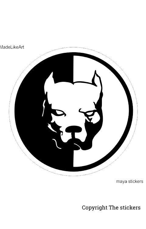 Bull dog Logo stickers white with Black for mobile, laptop and bike - The Stickers