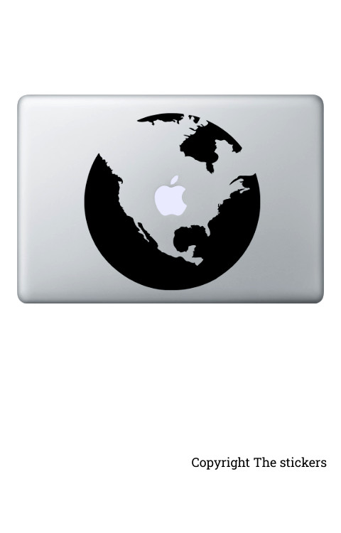 Earth graphics matte black for any Laptop - The stickers
