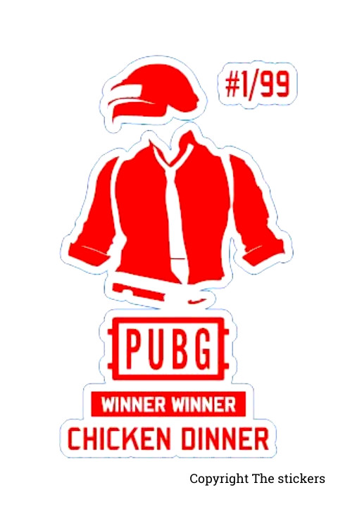 PUBG dress stickers white with Red 2.0x3.5 inch - The Stickers