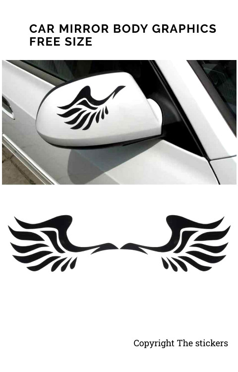 Car Mirror Body Graphics Custom Colors Free Size - The stickers
