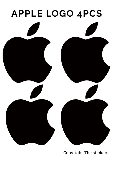 Apple macbook logo original size Black  - The stickers