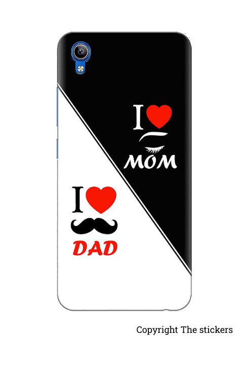 I love Mom Dad Mobile wrapping Paper for Redmi, Realme, Oppo, Vivo,Honor - The stickers