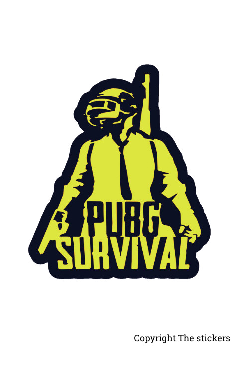 PUBG Survival Stickers Yellow and Black 2.0x3.5 inch - The Stickers
