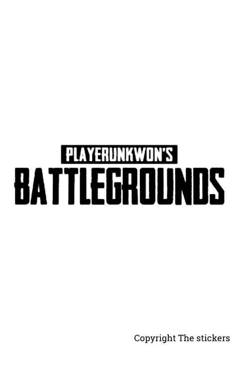 PUBG Logo stickers white with Black for mobile, laptop and bike - The Stickers