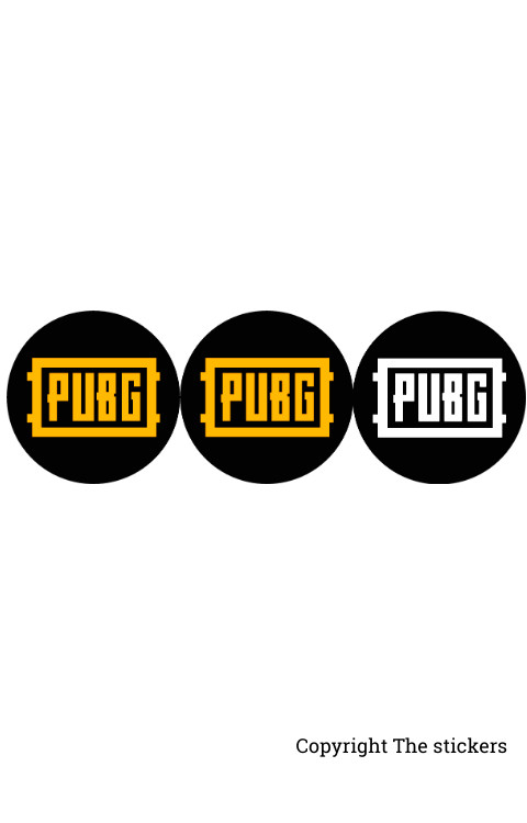 PUBG Logo stickers 3pcs white/yellow with Black for mobile, laptop and bike - The Stickers