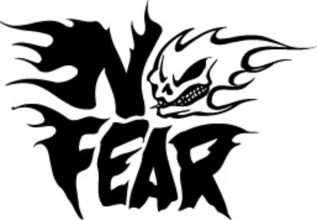 No fear tattoo stickers white with Black for mobile, laptop and bike - The Stickers