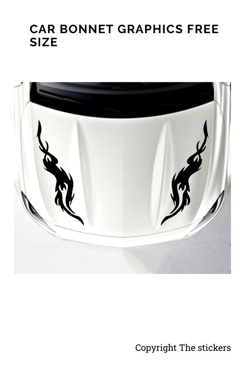 Car Bonnet Graphics Custom Colors Free Size - The stickers