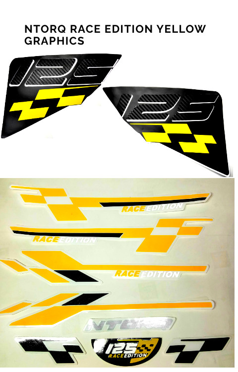 Ntorq Race Edition Yellow Color Full Graphics - The stickers