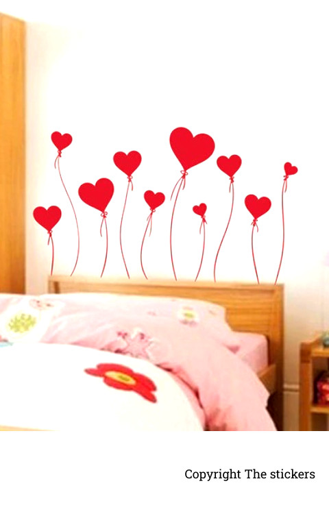 Wall stickers Heart Shape Red Color - The stickers