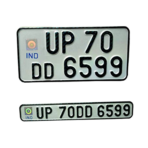 IND Punched Number Plate - The stickers
