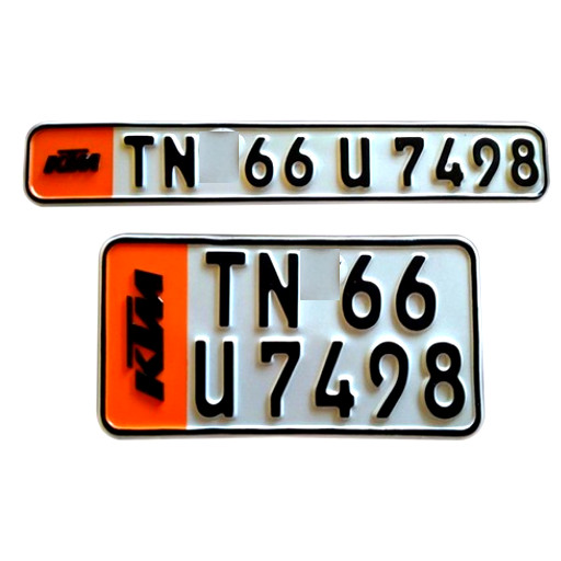 KTM IND Punched Number Plate - The stickers